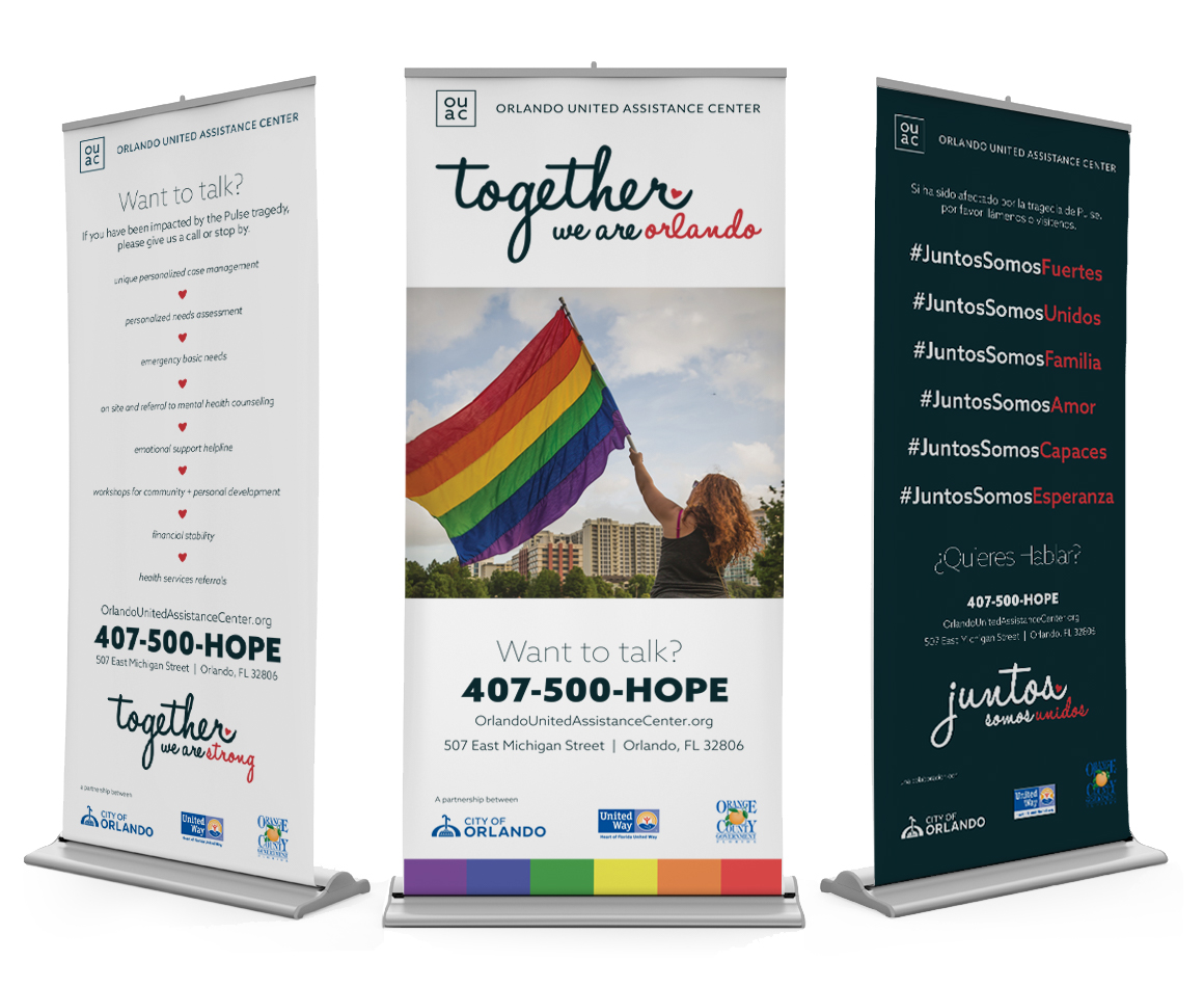 Custom deigned popup banners for Orlando United Assistance Center
