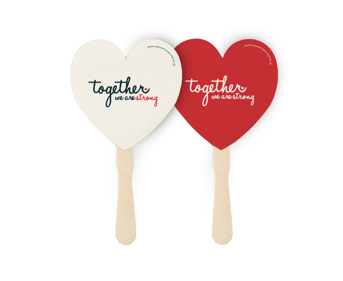 Custom designed campaign accessories and swag - heart shaped photo prop for Together Campaign