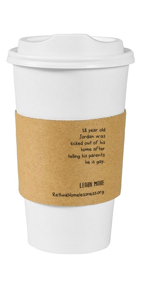 Custom Designed Coffee Sleeve for Rethink Homelessness